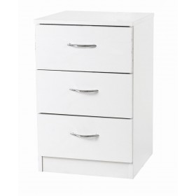 Budget White 3 Drawer Bedside