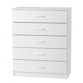 Budget White 5 Drawer Chest