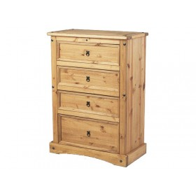 Corona Distressed Pine 4 Drawer Chest