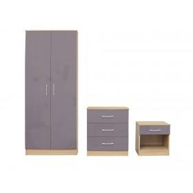 Daytona Oak And Grey High Gloss Trio Bedroom Set