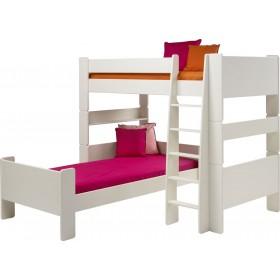 Glossy White Corner Bunk Bed