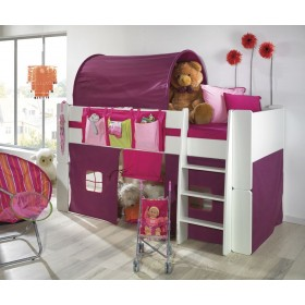 Glossy White Mid Sleeper With Pink Tent Tunnel & Pockets