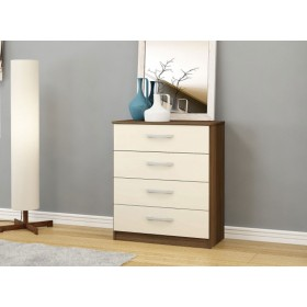 Links Walnut/ High Gloss Cream 4 Drawer Chest