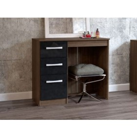 Links Walnut/ High Gloss Black 3 Drawer Dressing Table