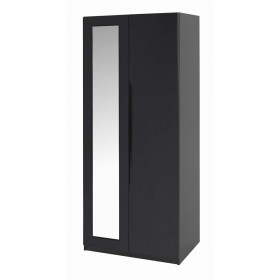 Orient Black Gloss 2 Door Robe With Mirror