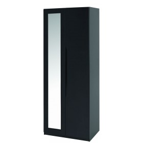 Orient Black Gloss Super Size 2 Door Robe With Mirror