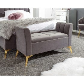 Petal Plush Grey Storage Bench