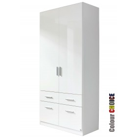 Rauch High Gloss Cello 2 Door 4 Drawer Wardrobe