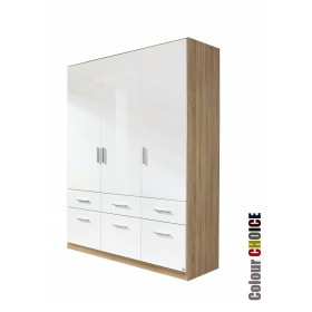 Rauch High Gloss Cello 3 Door 6 Drawer Wardrobe