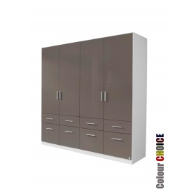 Rauch High Gloss Cello 4 Door 8 Drawer Wardrobe