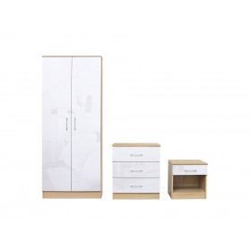 Daytona Oak And White High Gloss Trio Bedroom Set