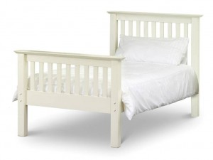 Barcelona High Foot Stone White Single Bed Frame