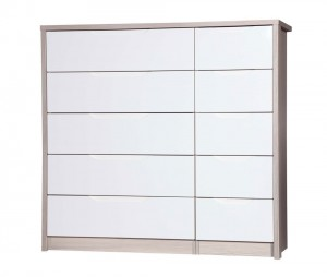Avola Champagne With Cream Gloss 5 Drawer Double Chest