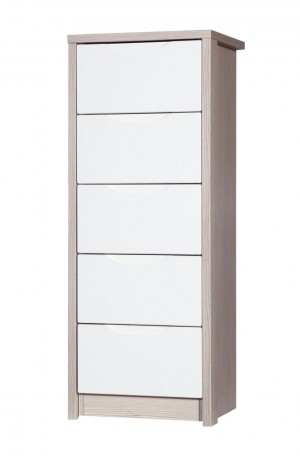 Avola Champagne With Cream Gloss 5 Drawer Tallboy