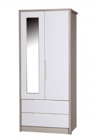 Avola Champagne With Cream Gloss 2 Door 2 Drawer Robe With Mirro