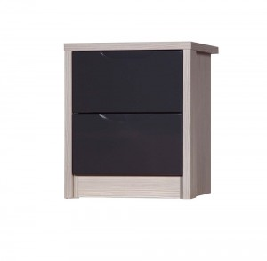 Avola Champagne With Grey Gloss 2 Drawer Bedside