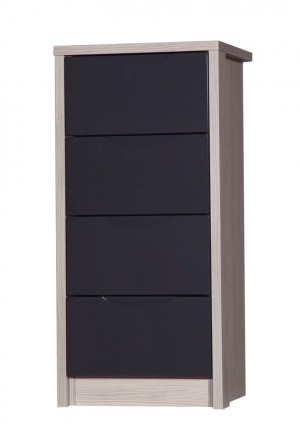 Avola Champagne With Grey Gloss 4 Drawer Tallboy