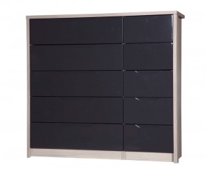 Avola Champagne With Grey Gloss 5 Drawer Double Chest