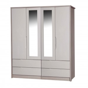 Avola Champagne With Sand Gloss 4 Door 4 Drawer Mirror Combi