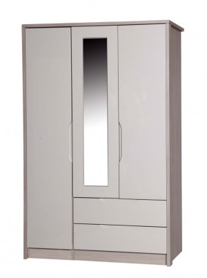 Avola Champagne With Sand Gloss 3 Door Combi Robe