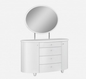 Aztec White High Gloss Dressing Table With Mirror