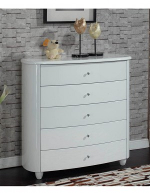 Aztec White High Gloss 5 Drawer Chest