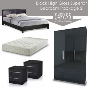 Black High Gloss Superior Bedroom Landlord Package 2