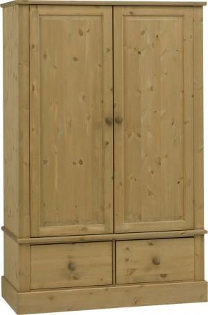 Castle Waxed Pine 2 Door/2 Drawer Robe