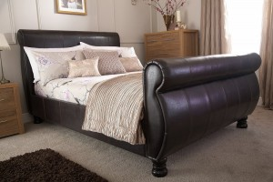 Chicago Brown Sleigh Bed Frame
