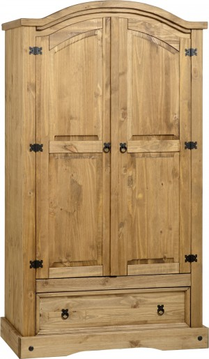 Corona Distressed Pine 2 Door Wardrobe