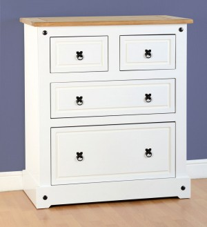 Corona White 2+2 Drawer Chest