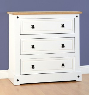 Corona White 3 Drawer Chest