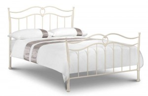 Katrina Stone White Double Bed Frame