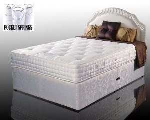 Kozee Rose Luxury Pocket 1000 Double 4 Drawer Divan Bed