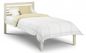 Locum Stone White Single Bed Frame