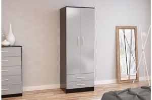 Links Black/High Gloss Grey 2 Door 2 Drawer Robe
