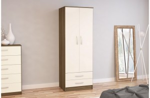 Links Walnut/High Gloss Cream 2 Door 2 Drawer Robe