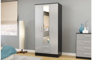 Links Black/ Grey 3 Door 2 Drawer Wardrobe