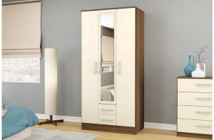 Links Walnut Cream 3 Door 2 Drawer Wardrobe