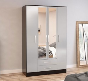 Links Black/ High Gloss Grey 4 Door 2 Drawer Robe
