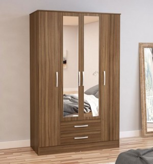 Links Walnut 4 Door 2 Drawer Wardrobe