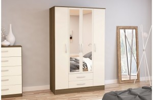Links Walnut/ High Gloss Cream 4 Door 2 Drawer Robe
