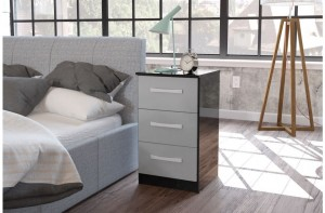 Links Black/ High Gloss Grey 3 Drawer Bedside