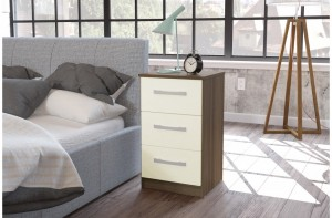Links Walnut/ High Gloss Cream 3 Drawer Bedside