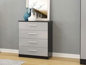 Links Black/High Gloss Grey 4 Drawer Chest