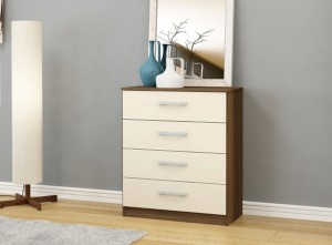 Links Walnut/ Cream High Gloss 4 Drawer Chest