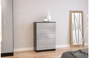 Links Black/ High Gloss Grey 5 Drawer Chest