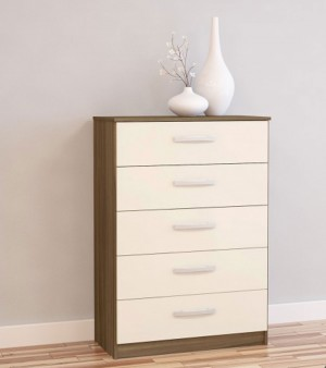 Links Walnut/ High Gloss Cream 5 Drawer Chest