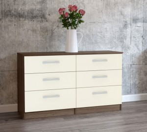 Links Walnut/ High Gloss Cream 6 Drawer Chest
