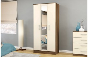 Links Walnut/ High Gloss Cream 3 Door Mirror Wardrobe